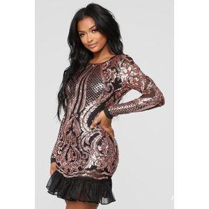 Fashion Nova Long Sleeve Backless Mini Dress NWT